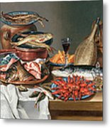 A Still Life Of A Fish Trout And Baby Lobsters Metal Print by Anton Friedrich Harms