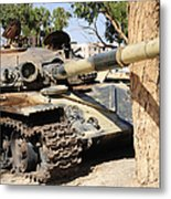 A T-72 Tank Destroyed By Nato Forces Metal Print by Andrew Chittock