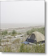 A Tent Sits In The Dunes By The Beach Metal Print by Taylor S. Kennedy