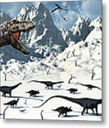 A  Tyrannosaurus Rex Stalks A Mixed Metal Print by Mark Stevenson