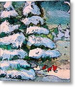 A Winter Feast Metal Print by Mindy Newman