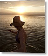 A Woman Wades Into The Dead Sea Metal Print by Taylor S. Kennedy
