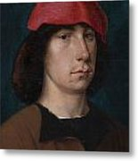 A Young Man In A Red Cap Metal Print by Michiel Sittow