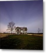 Abandoned Farmhouse At Night Metal Print by Cale Best