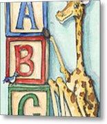 Abc Blocks - Giraffe Metal Print by Annie Laurie