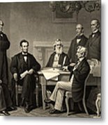 Abraham Lincoln At The First Reading Of The Emancipation Proclamation - July 22 1862 Metal Print by International  Images