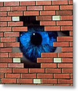 Abstract Of Eye Looking Through Hole In Brick Wall Metal Print by Mehau Kulyk