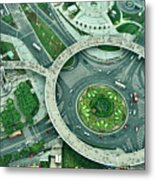 Aerial View Of Shaghai Traffic Metal Print by Ixefra