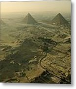 Aerial View Of The Pyramids Of Giza Metal Print by Kenneth Garrett