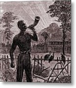 African American Blowing The Wake-up Metal Print by Everett