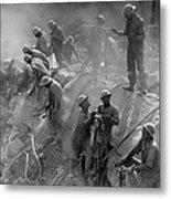 African American Workers Construction Metal Print by Everett