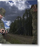 Airmen Use A Range Finder And Gps Unit Metal Print by Stocktrek Images