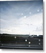 Airplane On Runway Metal Print by Shannon Fagan