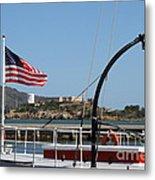 Alcatraz Island Through The Hyde Street Pier In San Francisco California . 7d14163 Metal Print by Wingsdomain Art and Photography