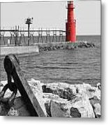 Algoma Lighthouse Is Anchored Metal Print by Mark J Seefeldt