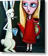 Alice A Tea Pot Metal Print by Leanne Wilkes
