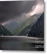 Alpine Lake With Sunlight Metal Print by Mats Silvan