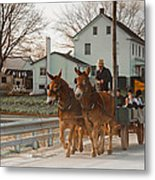 Amish Wagon Metal Print by Heidi Reyher