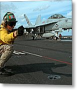 An Airman Gives The Signal To Launch An Metal Print by Stocktrek Images