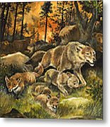 Animals United In Terror As They Flee From A Forest Fire Metal Print by G W Backhouse