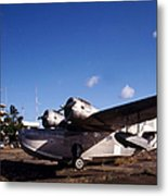 Antique Navy Seaplane Parked In Front Metal Print by Michael Wood