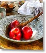 Apples In A Silver Bowl Metal Print by Susan Savad
