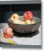 Apples In An Aerni Bowl Metal Print by Patricia Overmoyer
