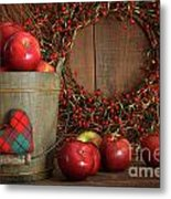 Apples In Wood Bucket For Holiday Baking Metal Print by Sandra Cunningham