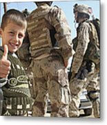 As A Father Is Questioned By Marines Metal Print by Stocktrek Images