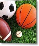Assortment Of Sport Balls On Grass Metal Print by Sandra Cunningham