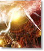 Asteroid Striking Earth Metal Print by Victor Habbick Visions