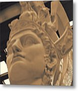 Athena Sculpture Sepia Metal Print by Linda Phelps