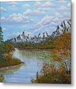 Autumn Mountains Lake Landscape Metal Print by Georgeta  Blanaru