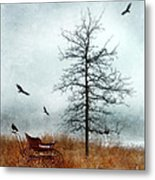 Baby Buggy By Tree With Nest And Birds Metal Print by Jill Battaglia