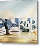 Baby Denim Shoes Metal Print by Sandra Cunningham