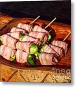 Bacon And Pepper Skewers Metal Print by Yali Shi
