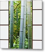Bamboo Forest Through A Rice Paper Window Metal Print by Jeremy Woodhouse