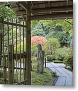 Bamboo Gate And Traditional Arch Metal Print by Douglas Orton