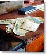 Bank Checks Dated 1923 Metal Print by Susan Savad