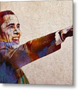 Barack Obama Watercolor Metal Print by Stefan Kuhn