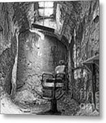 Barber - Chair - Eastern State Penitentiary - Black And White Metal Print by Paul Ward