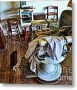 Barber Chair With Child Booster Seat Metal Print by Paul Ward