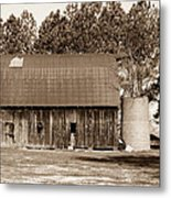 Barn And Silo 1 Metal Print by Douglas Barnett