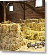 Barn With Hay Bales Metal Print by Elena Elisseeva
