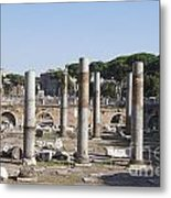 Base Of Trajan's Column And The Basilica Ulpia. Rome Metal Print by Bernard Jaubert
