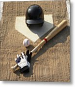 Baseball, Bat, Batting Gloves And Baseball Helmet At Home Plate Metal Print by Thomas Northcut