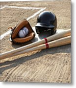 Baseball Glove, Balls, Bats And Baseball Helmet At Home Plate Metal Print by Thomas Northcut