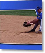 Baseball Hot Grounder Metal Print by Thomas Woolworth