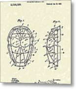 Baseball Mask 1912 Patent Art Metal Print by Prior Art Design