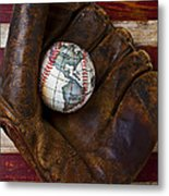 Baseball Mitt With Earth Baseball Metal Print by Garry Gay